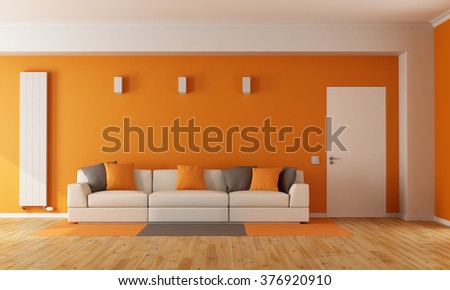 Modern orange living room with white sofa and closed door - 3D Rendering - stock photo