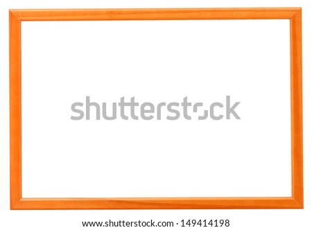 modern orange narrow picture frame with cutout canvas isolated on white background - stock photo