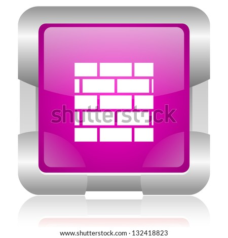 modern oryginal violet square glossy internet icon with steel border on white background