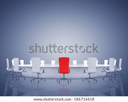 Modern oval conference room with copyspace , Boardroom interior - stock photo