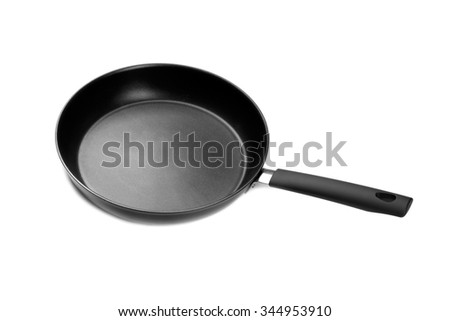 Modern pan with non-stick coating. Isolate on white. - stock photo