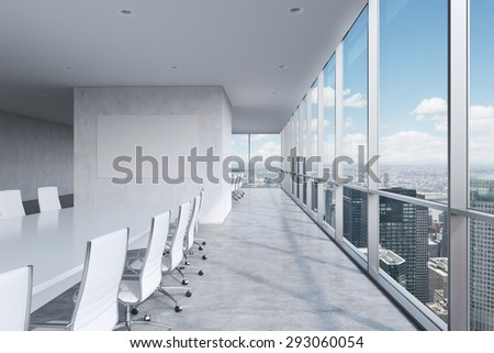 Modern panoramic conference room. A white rectangular table and chairs around it. New York City view. 3D rendering