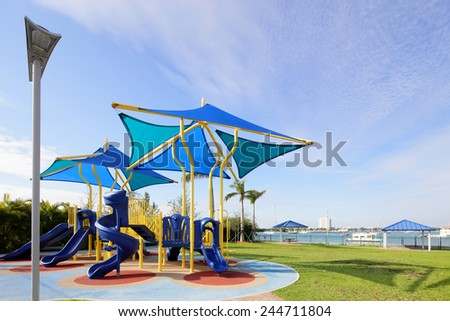 Modern park playground - stock photo