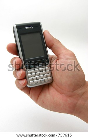 Modern PDA style cell-phone with camera being held by a male hand