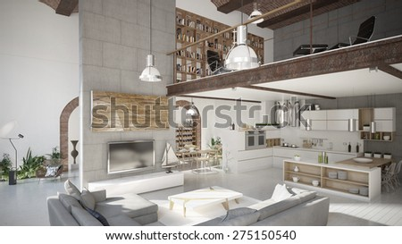Modern penthouse apartment (3 d render using 3 d s Max) - stock photo