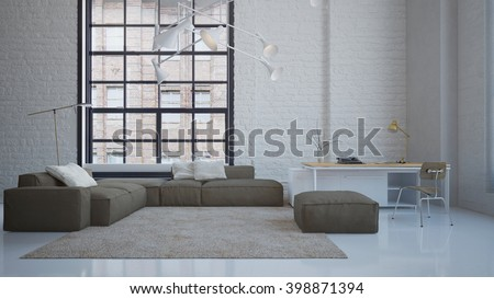 Modern penthouse living room with elegant sofa and working desk - 3 D rendering using 3 D S Max - stock photo