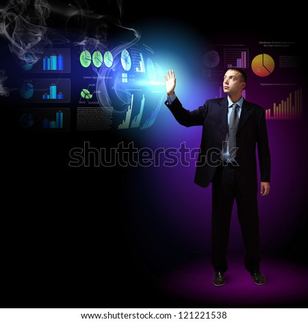 Modern people doing business, young businessman with money symbols
