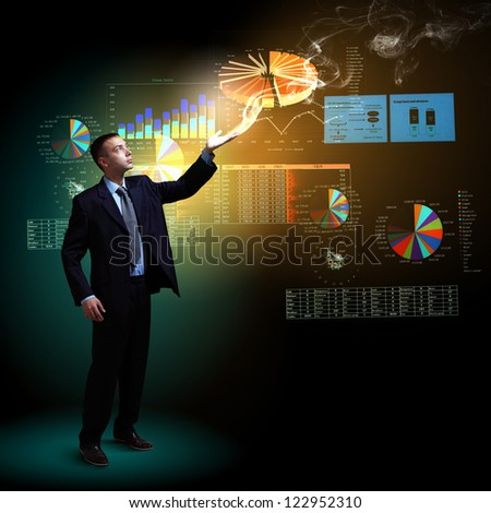 Modern people doing business, young businessman with money symbols - stock photo