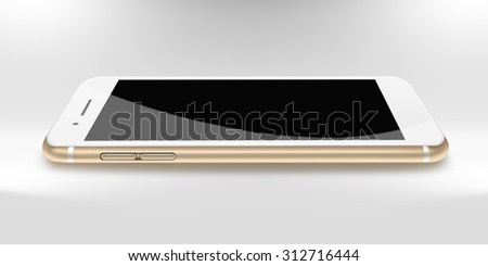 Modern phone realistic smartphone iphon style mockup with black screen and shadows on gray background. Highly detailed illustration.  - stock photo