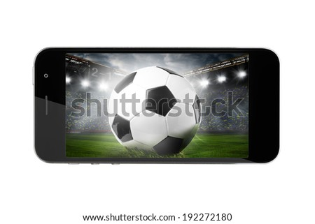 modern phone with soccer or football ball on screen - stock photo