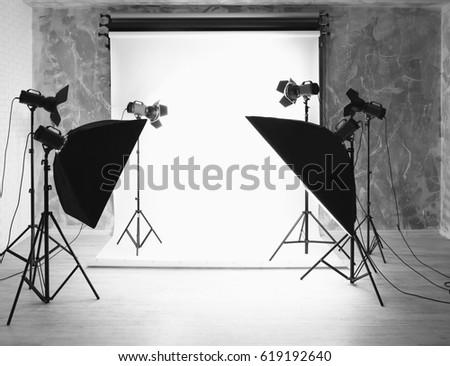 Modern photo studio interior with professional lighting equipment & Simple Photo Studio White Background Lights Stock Illustration ... azcodes.com