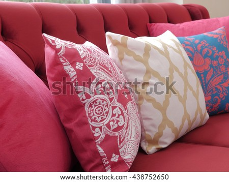 Modern pillow and beautiful home interior design details - stock photo