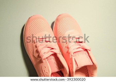 modern pinky sport shoes - stock photo