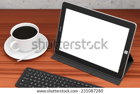 Modern Place of Work with Group of Office Equipment and Accessories: Tablet PC, Keyboard and Cup of Coffee - stock photo