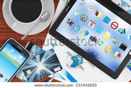 Modern Place of Work with Group of Office Equipment and Accessories: Tablet PC, Smart Phone, Credit Cards, Financial Reports and Cup of Coffee. Top View - stock photo