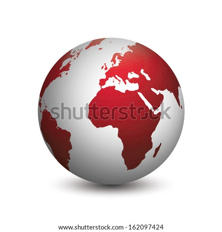 Modern planet earth colored in red and gray isolated on white background - stock photo