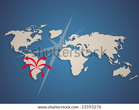 Modern planisphere with arrows comming out from South America. - stock photo