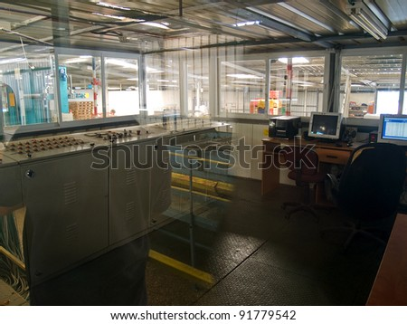 Modern plant factory computer control room - stock photo