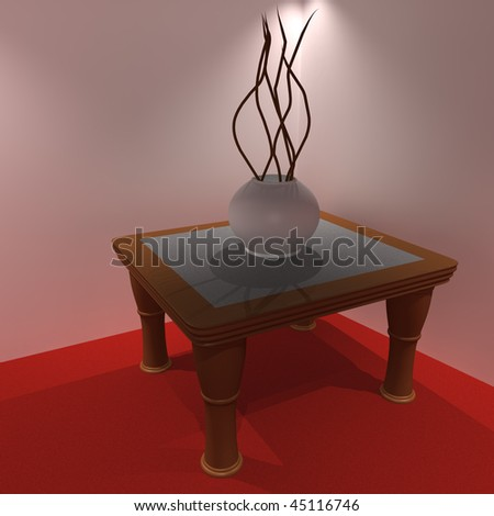Modern plant on a wooden table in a corner.