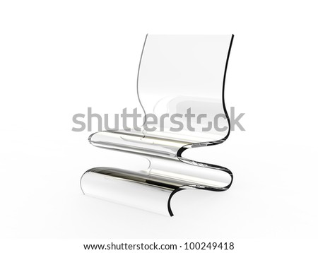 Modern plastic chair on a white background - stock photo