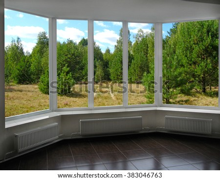 modern plastic windows with view of pine forest