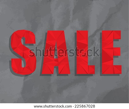 Modern polygonal origami style SALE advertising on crumpled paper texture background - stock photo