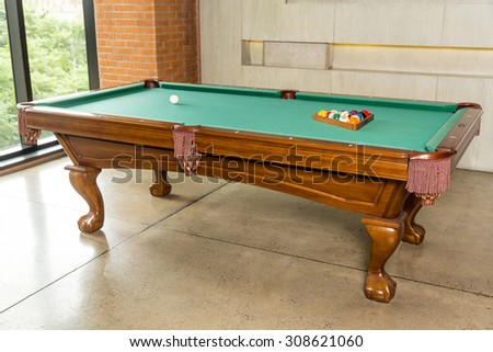 modern pool table minimalism style wall with night lighting