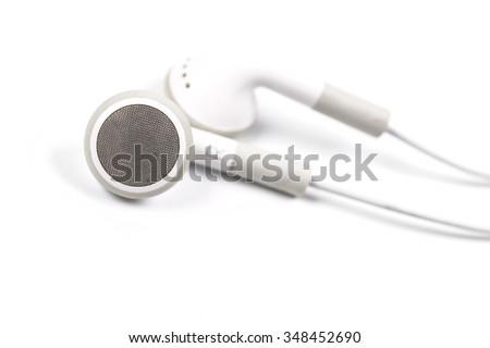 Modern portable audio earphones - stock photo