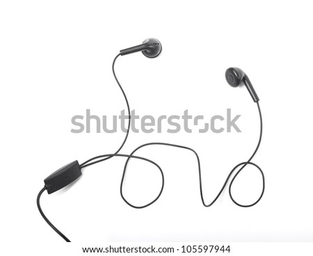 Modern portable audio earphones isolated on a white background - stock photo