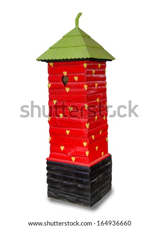 Modern postbox of strawberry isolated on white background - stock photo