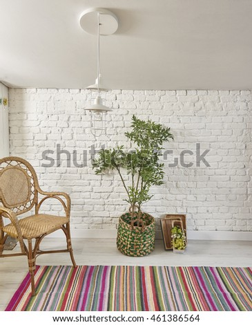 modern potted green plants brick wall and carpet style interior vintage decor