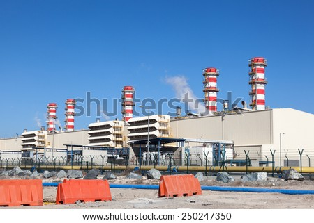 Modern Power Station in the United Arab Emirates - stock photo