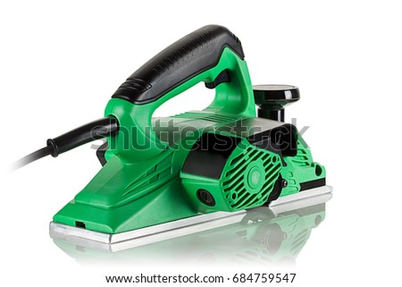 modern powerful and efficient electric planer on white background