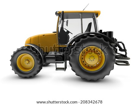 Modern powerful farm tractor isolated on white background