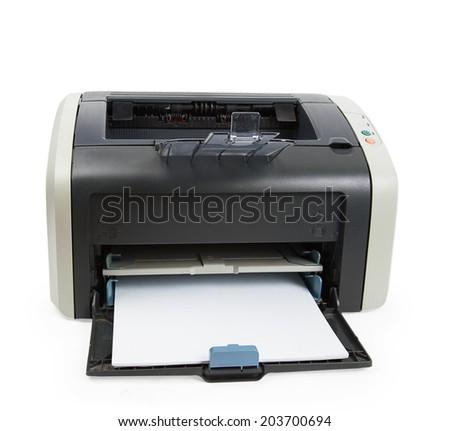 Modern printer isolated on white background - stock photo