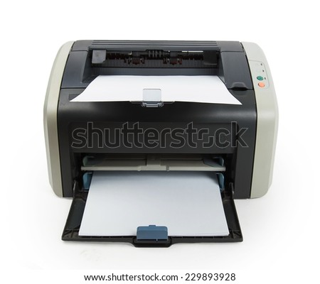 Modern printer isolated on white background - stock photo