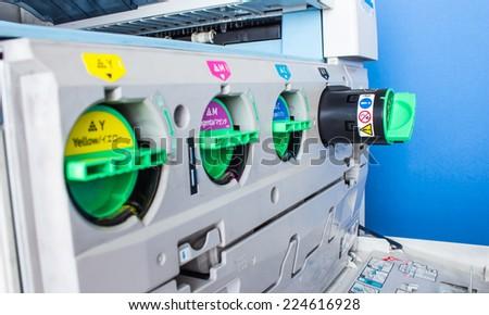 modern printing, concept, closeup of the toner cartridges - stock photo