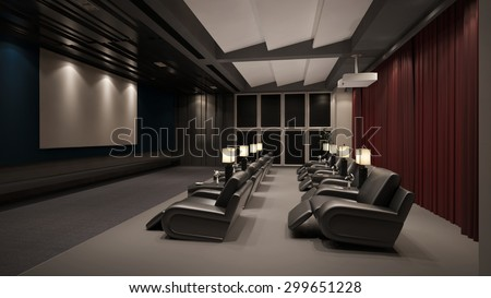 Modern private home cinema system with beamer and canvas and many chairs (3D Rendering) - stock photo