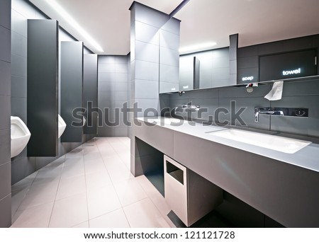 modern public restroom for men - stock photo