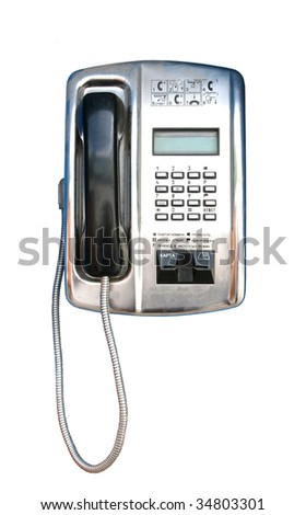 modern public telephone isolated on white background - stock photo