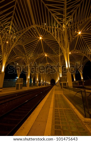modern railway station Oriente at the expo park in Lisbon at night