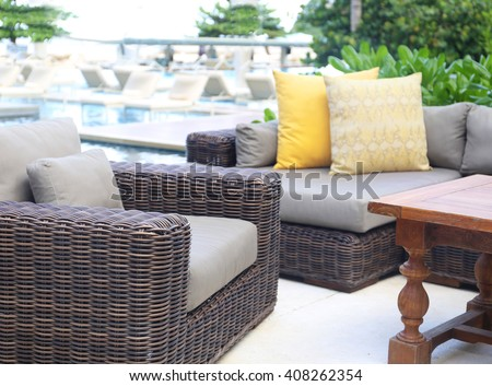 modern rattan sofa - stock photo