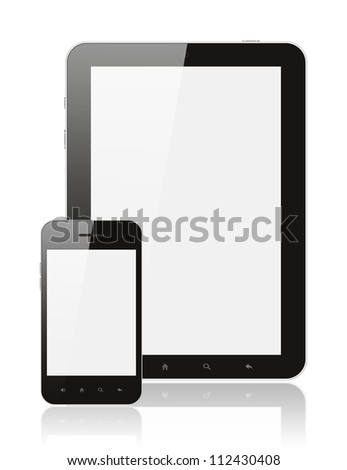 Modern realistic digital tablet PC with smartphone on white background - stock photo