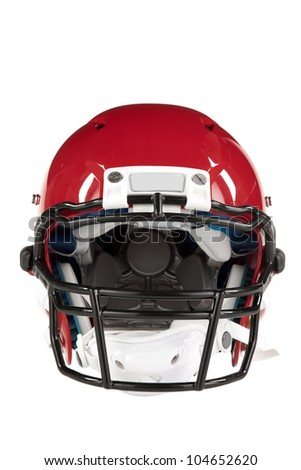 Modern red American Football helmet front view with clipping path - stock photo