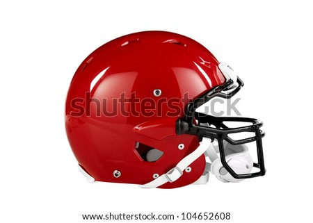 Modern red American Football helmet side view with clipping path - stock photo