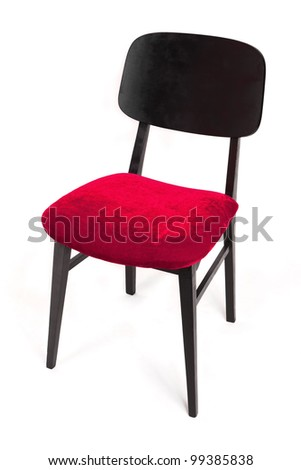 Modern red and black chair isolated on white.