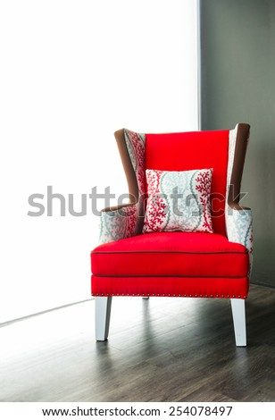 Modern red armchair