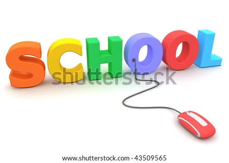 modern red computer mouse connected to the colourful word School - stock photo