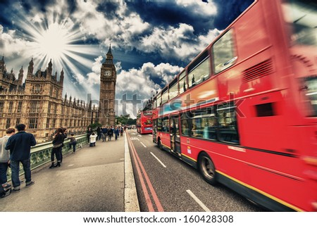 Modern red double decker bus, icon of London, UK. - stock photo