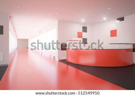 Modern red interior design with reception desk. Office lobby. 3D Rendering